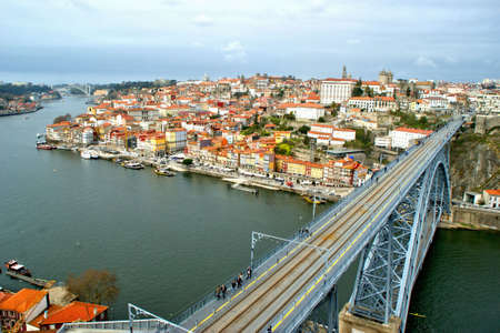 Panoramic view of Oporto and iron bridge in Portugal Stock Photo