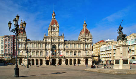 The City Hall Building in Coruna, Spain Editorial