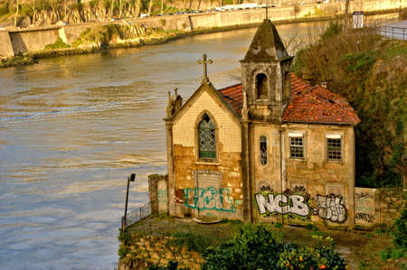 Abandoned chapel near Douro river in Vila Nova de Gaia, Portugal