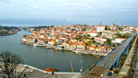 Panoramic view of Oporto and iron bridge in Portugal Editorial