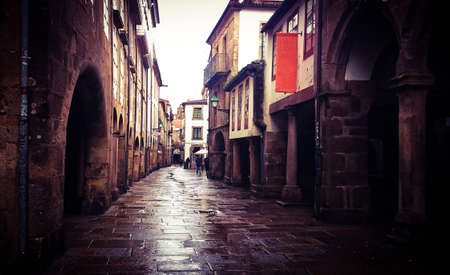 Old street in Santiago de Compostela, Spain Stock Photo