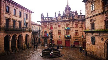 Plaza in Santiago de Compostela next to the cathedral, Spain Stock Photo