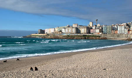 Orzan beach in La Coruna, Spain Stock Photo