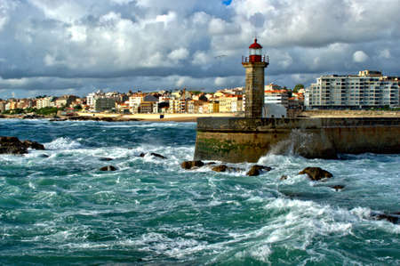 Felgueiras Lighthouse in Porto, Portugal Stock Photo