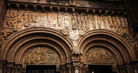 Romanesque reliefs in the cathedral of Santiago de Compostela, Spain Stock Photo - 153305973