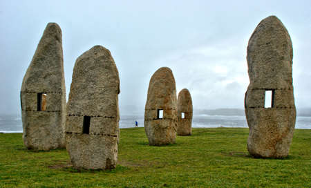 Menhirs for Peace in A Coruna, Spain Banco de Imagens - 153305993