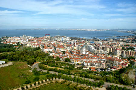 Panoramic view of Almada from Sanctuary of Cristo Rei, Portugal