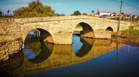 S. Miguel de Arcos Bridge in north of Portugal Banco de Imagens