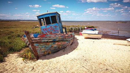 Old abandoned boat in Carrasqueira, Portugal Banco de Imagens