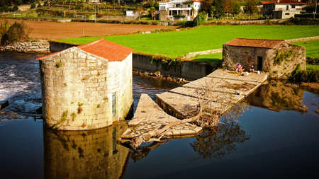 Watermills on the Ave river in Vila do Conde, Portugal