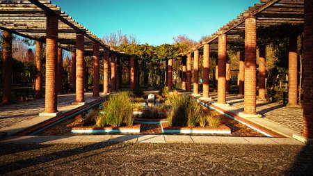 Roman Garden in Ponte de Lima, Portugal Banco de Imagens