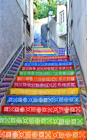 Colorful steps in Agueda, Portugal