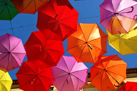 Low Angle View Of Colorful Umbrellas in Agueda, Portugal