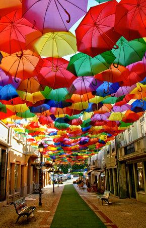 Colorful Umbrellas in Agueda street, Portugal