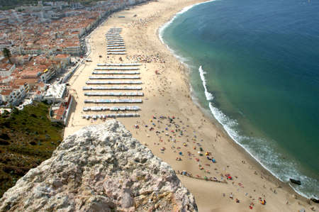 Nazare beach seen from Sitio viewpoint in Portugal Banco de Imagens
