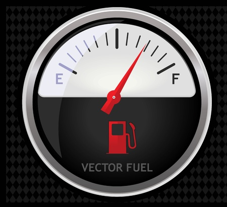 gas gauge: Nice glossy fuel meter isolated on black background Illustration