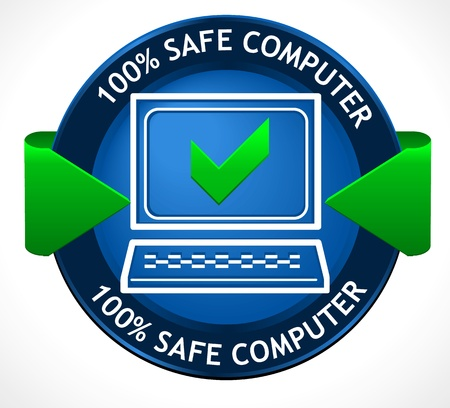 computer virus: Safe PC Badge