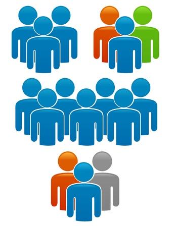 individualit�: Squadre e l'individualit� nella vita aziendale Vettoriali