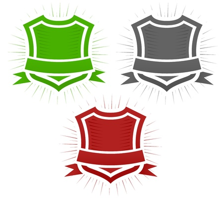 virus informatico: Conjunto de ilustración de escudo clásico