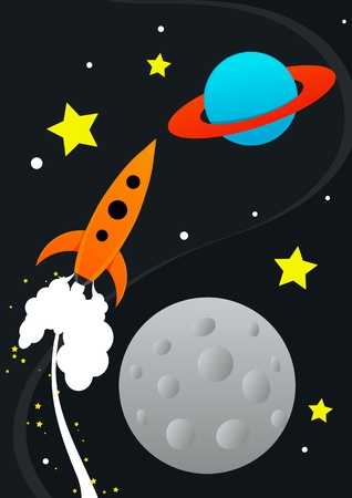 gravedad: Ilustraci�n de cohete Vectores