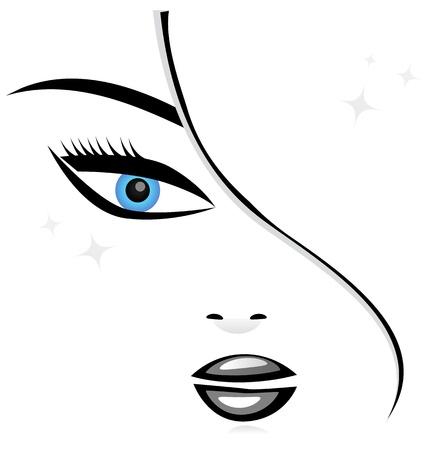 Silueta del rostro de mujer Vectores
