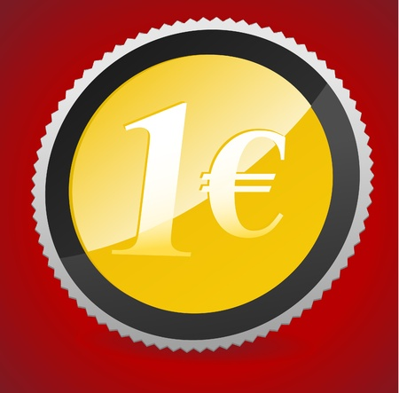 Luxury 1 euro Coin on curtain background