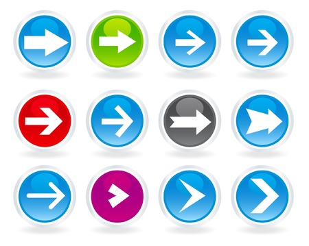 Different style arrows on different spheres Vector
