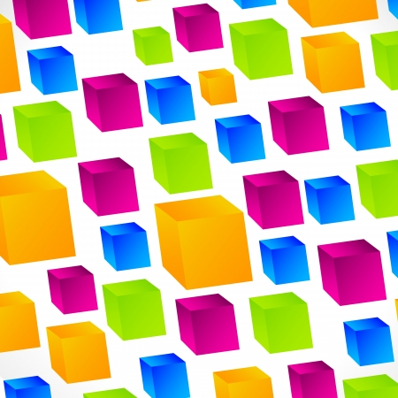 Square background with vivid, glossy Cubes Stock Vector - 17076675