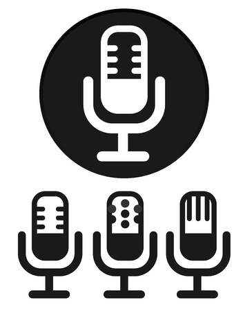 radio microphone: Simple Microphone Icons Illustration