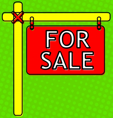 for sale sign: Retro For Sale Sign - halftone backdrop- comic, cartoon look -