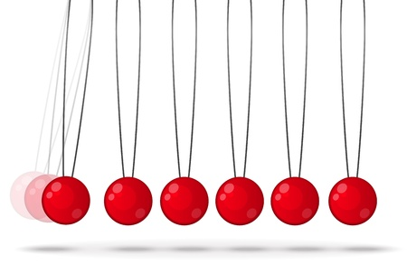 Newtons balls, Newton Cradle, Perpetual Motion , Hanging Red Spheres  photo