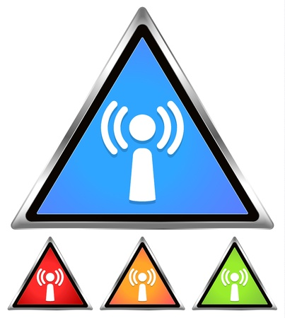 Wifi / Antennae / Signal / Free wifi spot-area-cafe sign - blue, red, orange, green  Stock Vector - 20302414