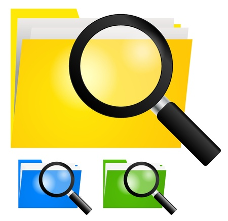 Magnifying Glass, Searching Folder Icon on yellow, blue and green color folders, infromation technology concept Stock Vector - 20961513