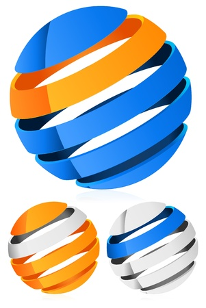 3d Spheres, globes with lines - Abstract 3d design element, emblem, icon Stock Vector - 20961517