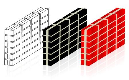 Brick walls vector, laying brick, brick laying for building and construction themes Stock Vector - 20961519