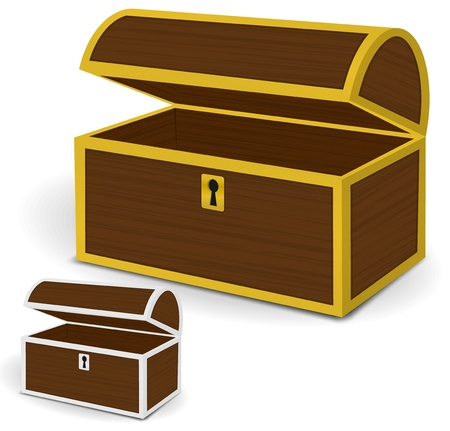Chest 3d vector, Empty wooden chest with gold and silver metal frames, keyholes Stock Vector - 20961520