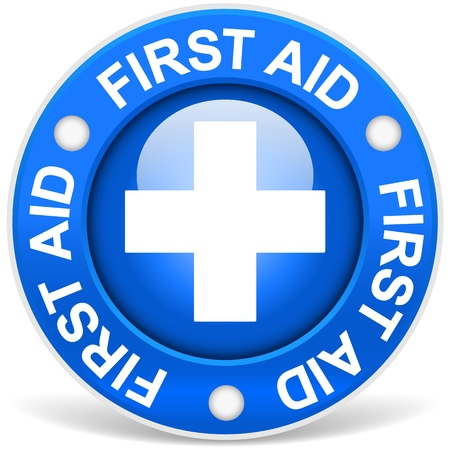 emergency response: First Aid Sign Blue Version Illustration