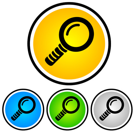 Magnifying Glass Icons  orange-yellow, blue, green, gray