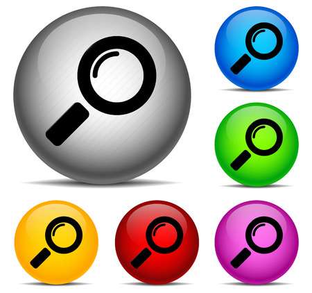 Magnifier Icons on sphere  6 color combinations