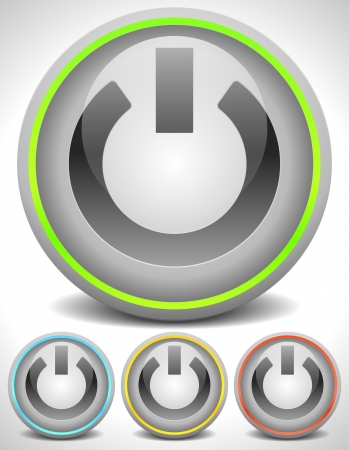 Modern Glowing Power-on buttons Stock Vector - 22372001