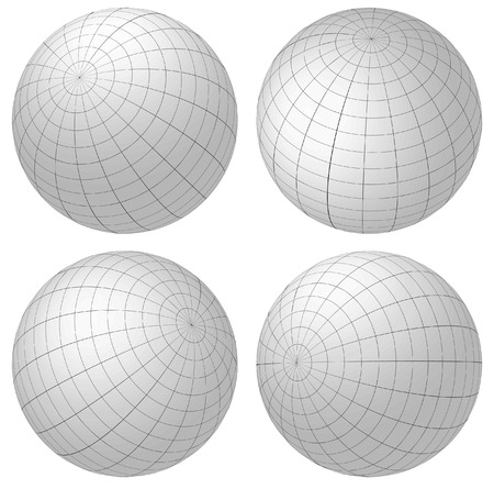 4 3d spheres with grid