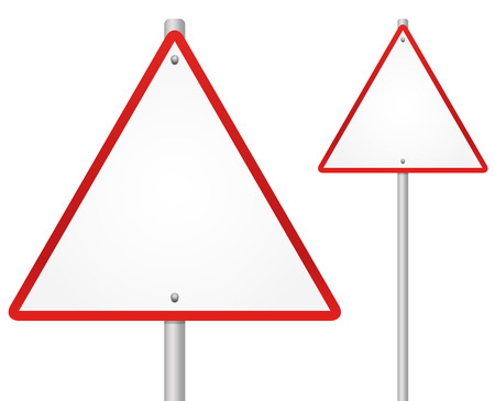 Blank Road sign on pole with rivets  red triangle