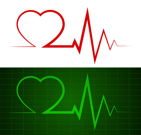 pacemaker: Heartbeat, ekg line illustrations  symbol   background