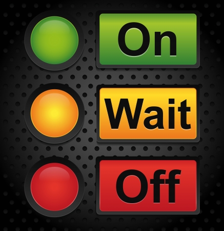 On wait off button on industrial background - machine interface Vector