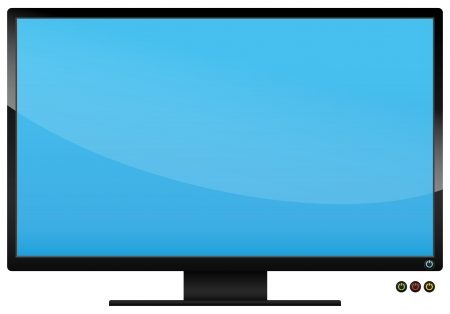 flatscreen: Monitor object with 3 color power buttons Illustration