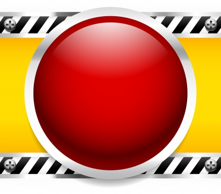 Red Button, Light industrial background - Control panel, mechanic, industrial, machinery - alarm, emergency concepts - Metal frames and screws, striped dividers Stock Vector - 22770680