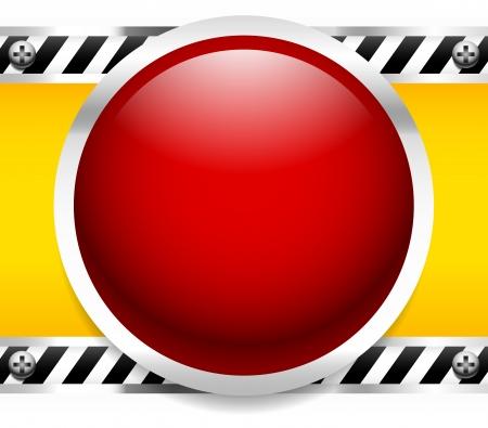 control panel: Tasto Rosso, Luce bassa industriale - Pannello di controllo, meccanico, industriale, macchinario - allarme, i concetti di emergenza - telai e viti in metallo, divisori a righe