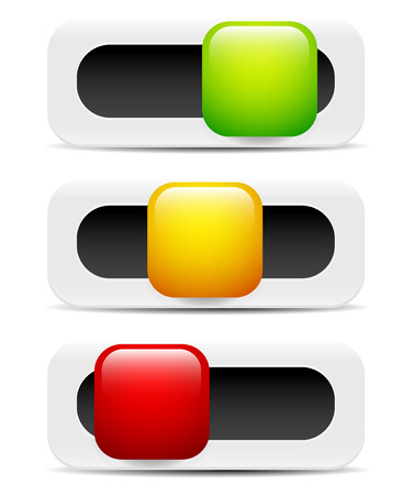 Button, Switch, Toggle, slider user interface elements as adjusters for gui, ui, ux design. Left, right middle, low, middle, high states. 4 Web, mobile screens, touch pads, touchscreens. Easy to edit. Vector