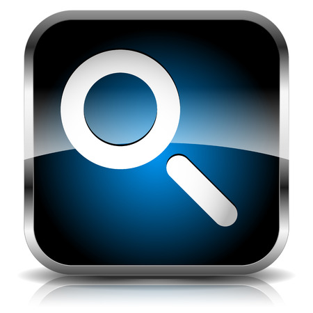 Seach icon with magnifying glass. Revision, Research, Search, SEO, Examination, Analytics, Inspection, Review concept.