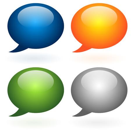 dialog baloon: Glossy speech, talk bubble set